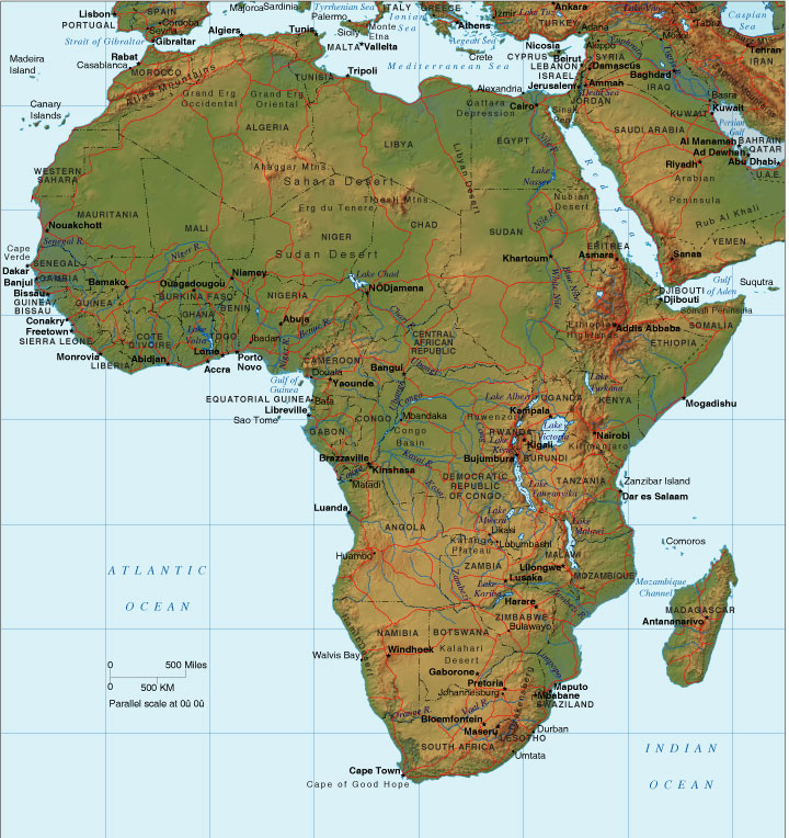Relief Map Of Africa   Africa Terrain Map