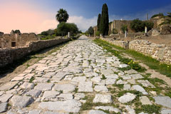 ancient Roman paved road, Carthage, Africa